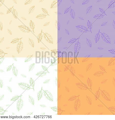 Set Of Seamless Patterns With Streaked With Dry Autumn Leaves. Ornament For Decoration And Printing