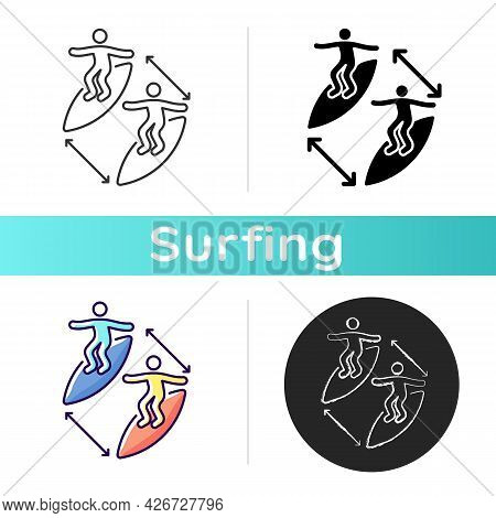 Keeping Distance Between Surfers Icon. Preventing Surfing Injuries. Avoiding Contact With Other Surf
