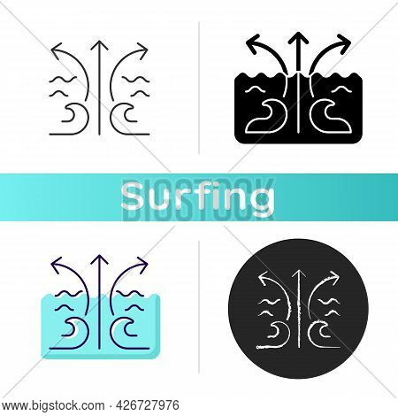 Rip Current Wave Icon. Potential Dangerous Threat To Surfer. Flat Spot In Waves. Surf Zone. Formatio