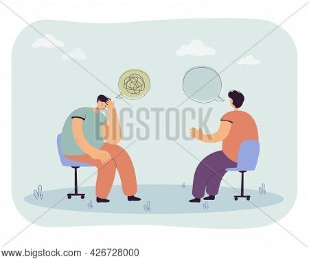 Man Trying To Understand Himself. Flat Vector Illustration. Person At Appointment With Psychologist,
