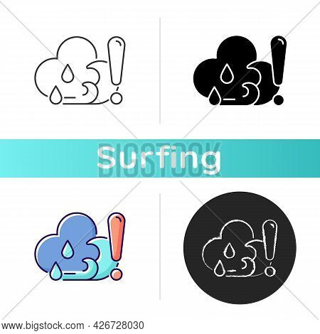 Checking Weather Before Surfing Icon. Surf Forecast. Gathering Weather Reports About Surf Spot. Chec