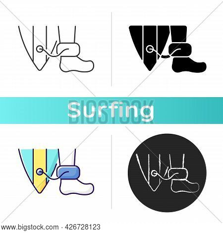 Wearing Surfboard Leash Icon. Being Attached To Surfboard Deck By Leg Rope. Preventing Board From Ru