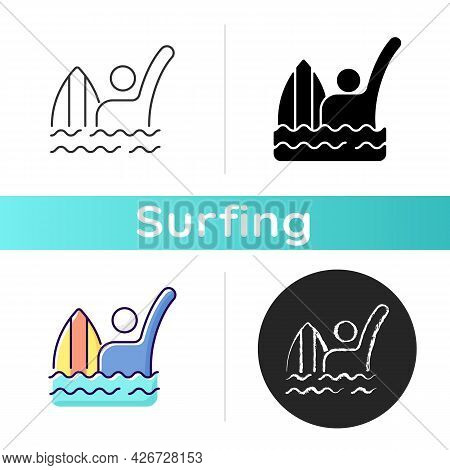 Emergency Signal For Drowning Icon. Waving Arm Above Head. Surfer Being In Dangerous, Scary Situatio