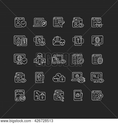 Online Surveillance And Censorship Chalk White Icons Set On Dark Background. Securing Accounts. Targ