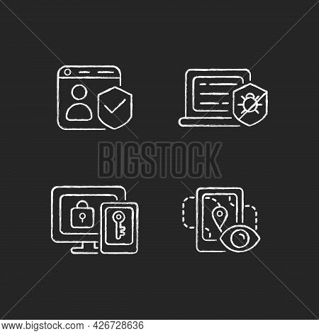 Protecting Right To Online Privacy Chalk White Icons Set On Dark Background. Securing Accounts. Anti