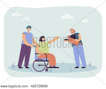 Girls Bringing Puppy To Woman In Wheelchair. Flat Vector Illustration. Happy Disabled Girl Rejoicing