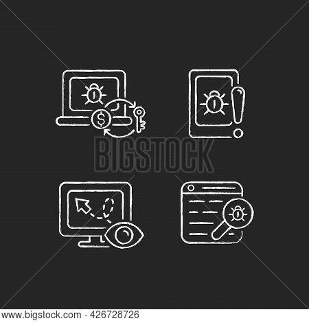Internet Censorship Chalk White Icons Set On Dark Background. Ransomware. Cell Phone Bugging. Demand