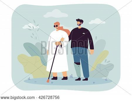 Man With Prosthetic Leg Walking With Blind Woman. Flat Vector Illustration. Girl In Dark Glasses Wit