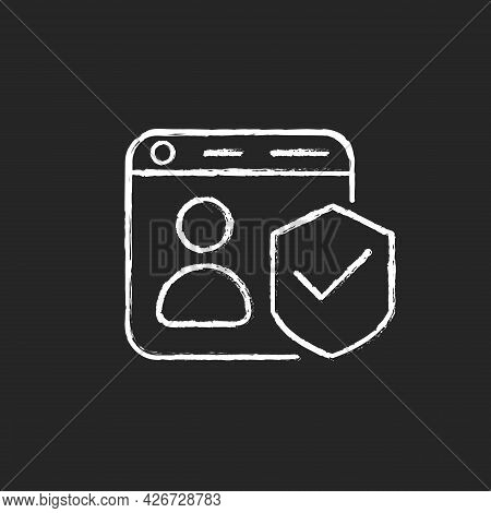 Securing Accounts Chalk White Icon On Dark Background. Digital Privacy Protection. Two-factor Verifi