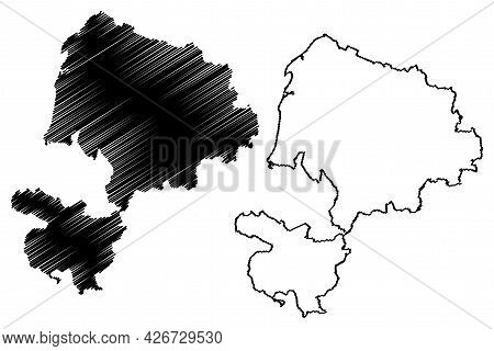 Karlsruhe District (federal Republic Of Germany, Rural District, Baden-wurttemberg State) Map Vector