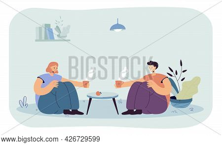 Friends Drinking Tea At Home Flat Vector Illustration. Two People Sitting On Floor At Coffee Table A