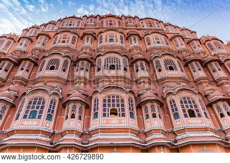 Front Facade Of The Colorful Palace Of The Winds In Jaipur, India