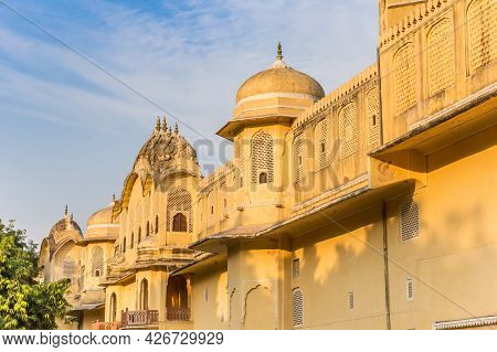 Towers Of A Historic Building In The Center Of Jaipur, India