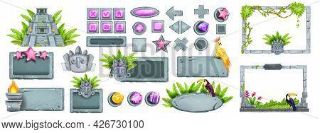 Stone Ui Game Button Set, Rock Maya Jungle Menu Panel Frame Kit, Aztec Tiki Mask, Mexican Pyramid. U