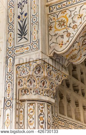 Detail Of The Decoration At The Red Fort Of Agra, India
