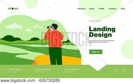 Back View Of Man Exploring Nature In Binoculars Flat Vector Illustration. Cartoon Character Looking