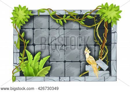 Stone Jungle Game Frame, Vector User Interface Rock Background, Cracked Tiles, Tropical Bushes, Parr