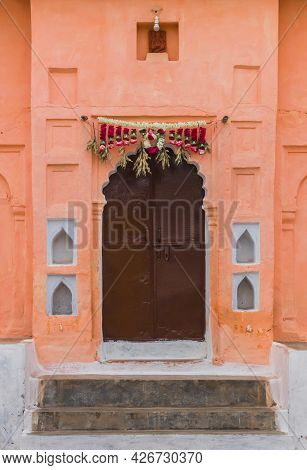 Decoration Above A Door Of An Old House In Orchha, India