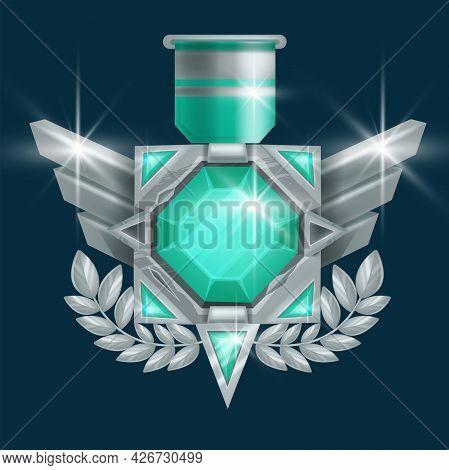 Game Winner Badge Vector Icon, Ui Rank Award Medal, Silver Trophy Achievement, Wings, Green Gemstone