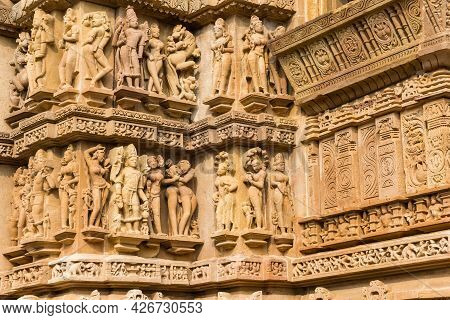 Detailed Sculpture Of The Erotic Temples In Khajuraho, India
