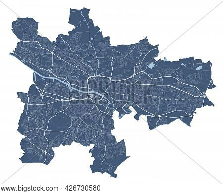 Glasgow Map. Detailed Vector Map Of Glasgow City Administrative Area. Cityscape Poster Metropolitan