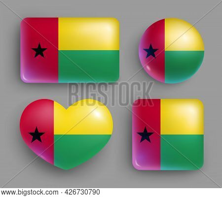 Set Of Guinea Bissau Country Flag Shiny Button. Western Africa Country National Flag, Shiny Geometri