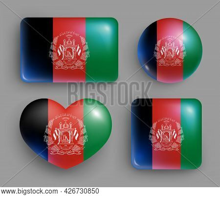 Set Of Glossy Button With Afghanistan Country Flag. South Asia Country National Flag, Shiny Geometri