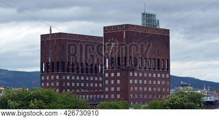Oslo downtown at day time. Streets,buildings,transport,detales. June 18,2018. Oslo,Norway