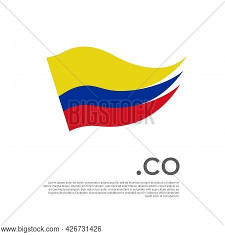 Colombia flag. Stripes colors of the colombian flag on a white background. Vector design national poster with co domain, place for text. Brush strokes. State patriotic banner of colombia, cover