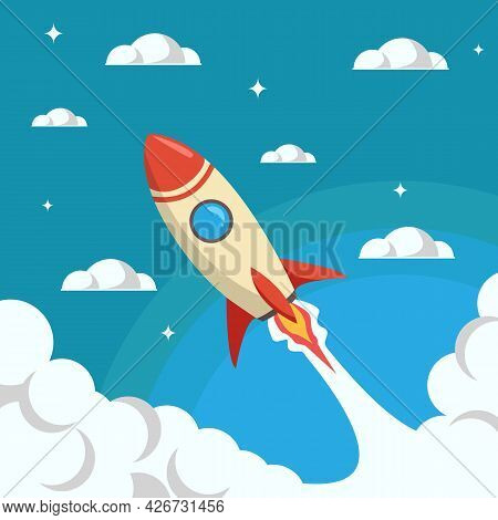 Rocket Launch Representing High Grow Of Business Start Up