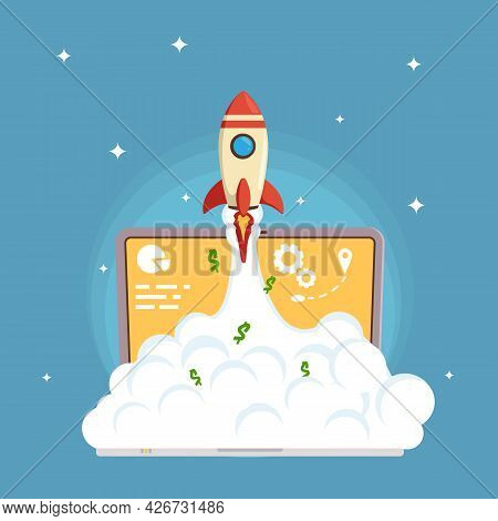 Web Business Start Up Launch In Flat Style Laptop Illustration