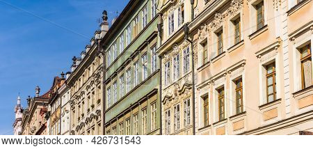 Panorama Of Decorated Historic Buildings In Mala Strana,prague, Czech Republic