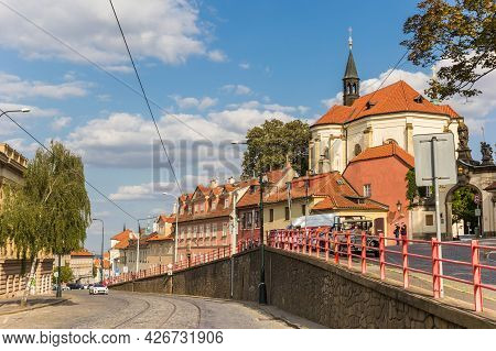 Prague, Czech Republic - September 12, 2020: Street In Front Of The Strahov Monastery In Prague, Cze