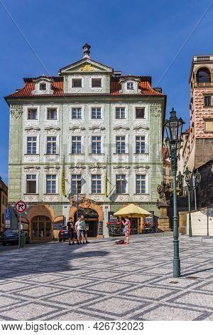 Prague, Czech Republic - September 13, 2020: Little Square In Historic Neighbourhood Mala Strana In