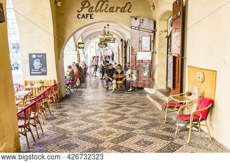 Prague, Czech Republic - September 13, 2020: People Sitting Outside At A Cafe In Historic Prague, Cz