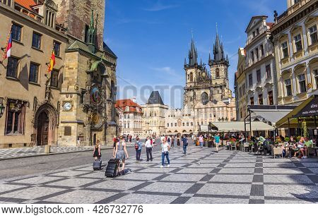 Prague, Czech Republic - September 13, 2020: Tourists Walking On The Old Town Square With Cafes In P