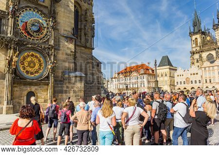 Prague, Czech Republic - September 13, 2020: Tourists Waiting For The Astronomical Clock To Play In