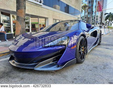 Los Angeles, California Usa - March 24, 2021: Blue Mclaren Automotive Limited 570s Corner View.