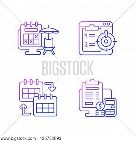 Remote Work Trackers Gradient Linear Vector Icons Set. Vacation Leave For Employee Marked On Calenda
