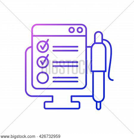Online Form Gradient Linear Vector Icon. Checklist For Project Task. Internet Questionnaire With Con