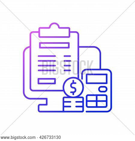 Invoicing Gradient Linear Vector Icon. Cost Management For Business. Financial Document. Work Monito