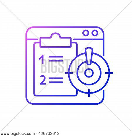 Priority Task Gradient Linear Vector Icon. Online Reminder For Important Corporate Project. Work Mon