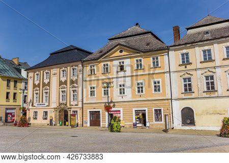 Kutna Hora, Czech Republic - September 14, 2020: Shops In Historic Houses On The Market Square Of Ku