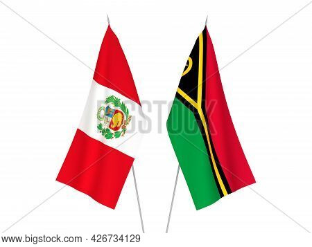 National Fabric Flags Of Peru And Republic Of Vanuatu Isolated On White Background. 3d Rendering Ill