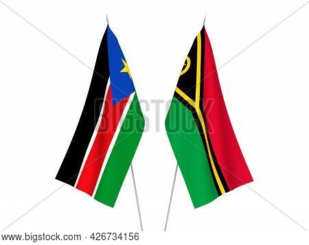 National Fabric Flags Of Republic Of South Sudan And Republic Of Vanuatu Isolated On White Backgroun