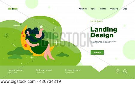 Happy Woman Sitting On Crescent And Holding Star Flat Vector Illustration. Cartoon Character Sleepin