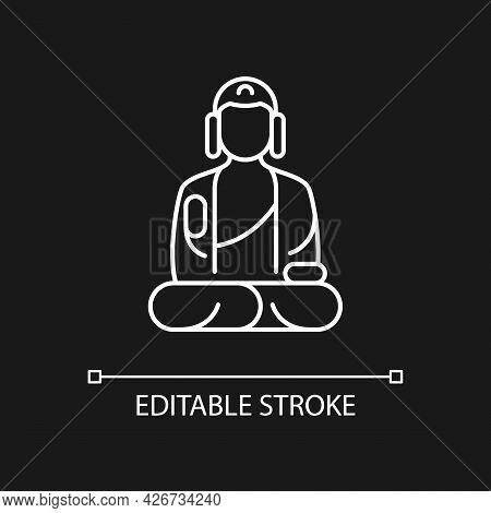 Shan Buddha Museum White Linear Icon For Dark Theme. Buddhist Faith Architecture. Bliss Statue. Thin