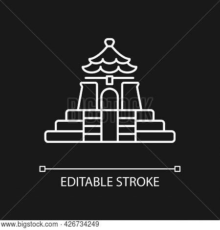 Chiang Kai Shek Memorial Hall White Linear Icon For Dark Theme. Landmark Tourist Attraction. Thin Li