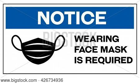 Notice Wearing Face Mask Is Required In English