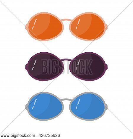 Set Of Sunglasses. Fashionable Color Sunglasses Vector Illustration